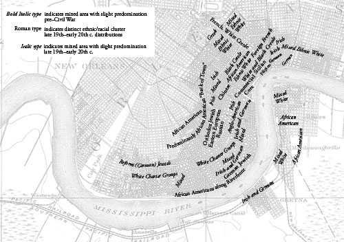 Ethnic Geography Map Of New Orleans C 1850 To C 1910